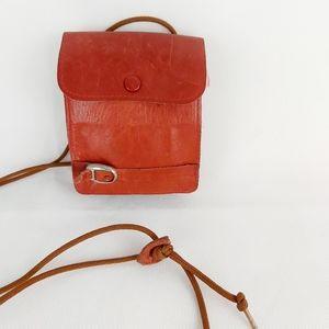 Mini leather red purse cross body bag